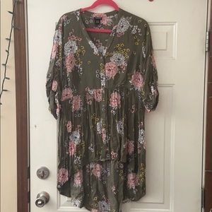 Torrid Plus Size Floral High Low Shirt Tunic